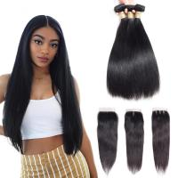 China Three Part 4 X 4 Closure 100 Human Hair Extensions / Remy Human Hair Straight wholesale