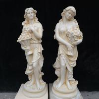 China Classic Colored Garden Statue Marble Four Season Lady Sculpture with Grapes on sale