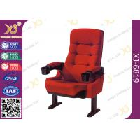Red Fabric XJ-6819 Fixed Leg Cinema Chairs / Movie Chair 5 Years Warranty