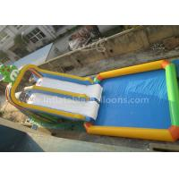 China Nontoxic Double Lanes Inflatable Frog Water Slide With 5X5M Big Water Pool wholesale