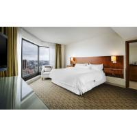 Quality Contemporary Mahogany Panel Full Size Bed Hotel Furniture Set With Leather Chairs for sale