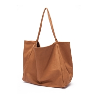 China 34cm brown quality canvas single shoulder Reusable Shopping Bags wholesale