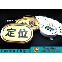 China Waterproof Gold Silk Screen Baccarat Markers Oval Shape For Casino Poker Games wholesale