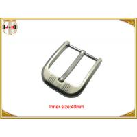China Customized Silver Plated Zinc Alloy Metal Pin Belt Buckle With Emboss Logo wholesale