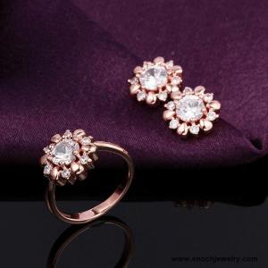 China Elegant Flower Model Finger 18k Gold Plated Top Sale Jewelry Earrings Set wholesale