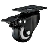 Small Furniture PU Caster Wheel With Swivel Plate Total Locking Black Bracket