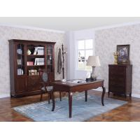 China Rubber Wood Home office room furniture bookcase set by Glass door with Shelves and Study desk Computer table wholesale