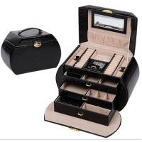 China Beautiful PU Makeup Storage Box Vanity Mirrored Portable Jewelry Case Ring Holder on sale