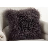 China Dark Gray Fuzzy Throw Pillows , Soft Curly Hair Wool Decorative Bed Pillows  wholesale