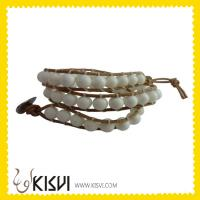 China Crystal Leather Bangle Bracelet wholesale