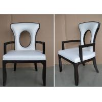 China Fabric Upholstered Modern White Leather Dining Room Chairs With Hole - Back wholesale