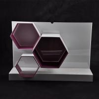 China White / Red Makeup Acrylic Display Stand 570×162×390 mm With Hexagon Shape wholesale