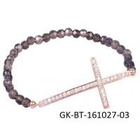 China 2013 new fashion 925 sterling silver jewellery rose gold plated cross bracelet, beads bracelet wholesale