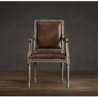 Comfortable Vintage Chocolate Leather Dining Chairs / Leather Tub Dining Chairs