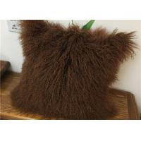 Customized Color / Size Mongolian Sheepskin Decorative Throw Pillow 10-15cm Wool
