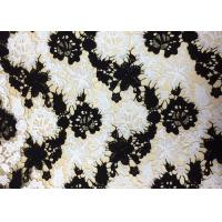 China Polyester Embroidered Lace Fabric With Black And White Floral Pattern For Apparel wholesale