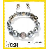 China Elegant designs CZ crystal & alloy 10mm beaded crystal bracelets with shiny beads wholesale