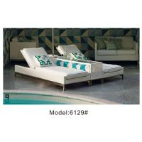 China 2pcs rattan poolside sunbed with umbrella holder & drink table 2 person wicker sunbed-6129 wholesale