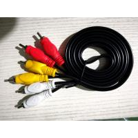 China Male To Male 3 RCA To 3 RCA Cable , Black Color 3 Rca Stereo Audio Cable wholesale