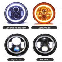 China 7 inch Round Jeep Wrangler LED Headlights With Halo Ring Angel Eyes 70Watt , with 3700 Lumens headlight for Jeep wholesale