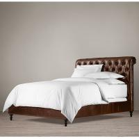 China High end King Leather Bed , fully upholstered king size leather storage bed wholesale