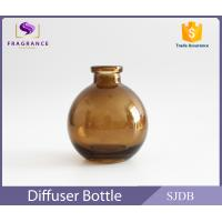 China Aromatic Reed Diffuser Glass Bottle 200ml Flat Round Colored Thin Neck wholesale