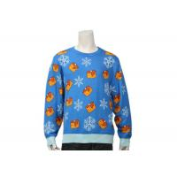 China Men's Long Sleeve Christmas Sweater With Candle And Snowflake Patterns In Blue wholesale