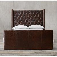 China Modern contemporary burgundy full size leather bed for home , hotel , restaurant wholesale
