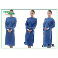 Buy cheap Nonwoven SMS Blue disposable hospital scrubs with Elastic and Knit cuff product