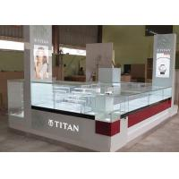 Quality Watch Custom Mall Kiosk Crystal Glass Combine Wood With LED Spot Lights for sale