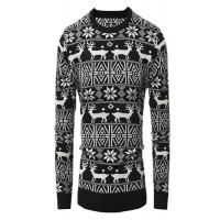 China Reindeer Patterns Mens Christmas Sweaters Jacquard Design Beautiful Appearance wholesale