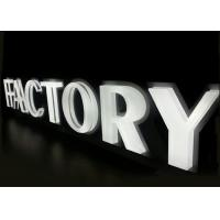 China Company logo design brushed  white lighting stainless steel channel letter sign on sale