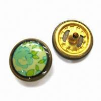 China Brass Snap Buttons with Screen Printing Finish, Measuring 16.7mm wholesale