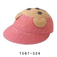 China 56cm Raffia Straw Braid Kids Sun Hats With Bear Image For Seashore on sale