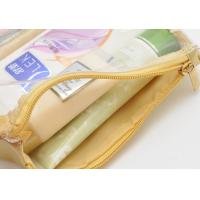 Quality Portable Toiletry PU Leather Folding Cosmetic Bag  Golden Color For Travel for sale
