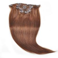 China 7A Grade Silky Straight Dark Brown Color Brazilian Hair Clips In Hair Extension wholesale