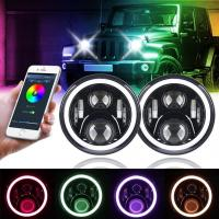 China 7 Inch Round Halo Car Lights For Jeep Wrangler Bluetooth Phone Control wholesale