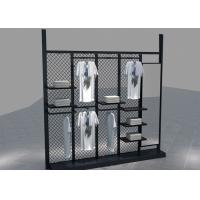 China Environmental Metal Material Metal Black Clothing Rack For Garment Mall Displaying wholesale