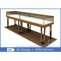 China Modern Gold Stain Steel Commercial Jewelry Display Cases With Led wholesale