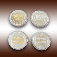 Buy cheap 3D/2D double sides shape formel 999 silver commemorative coin from wholesalers