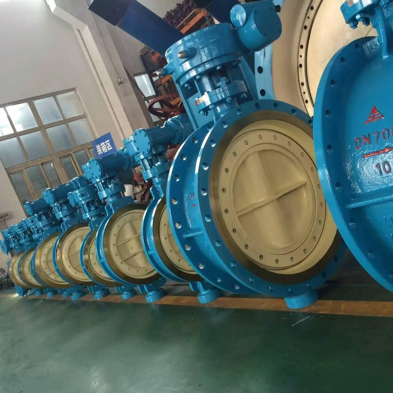 China DN700 Blue Pneumatic Butterfly Valve / Double Butterfly Valve WCB Material PN 10 wholesale