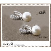 China Plating with rhodium 925 sterling silver gemstone earrings with imitated pearl W-AS984 wholesale
