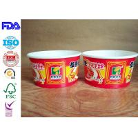 China Red Paper Rice Bowl With Plastic Lid , Disposable Paper Bowls For Hot Soup wholesale