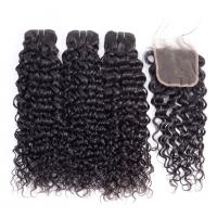 China No Chemical Water Wave Bundles With Closure 100% Remy Indian Human Hair Extensions wholesale