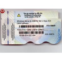 China Windows Sever 2008 R2 1 - 4 CPU 5 CLTs Access DVD and Key Card Online Activation wholesale