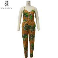 China Spaghetti Strap Women African Print Jumpsuit For Summer / Spring Brown Color wholesale