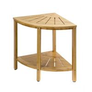 China Versatile Indoor Outdoor Freestanding 2-Tier Bamboo Corner Shower Bench with Shelves on sale