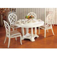 China Hotel Elegant Wooden Luxury Dining Room Furniture White Round Dining Table wholesale