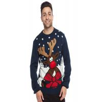 China Unisex Navy Cute Christmas Sweaters , Ugly Christmas Jumpers OEM Service wholesale