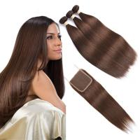 China Brown Color Ombre Human Hair Extensions / Straight Hair Weave With 4X4 Closure wholesale